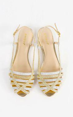 The perfect festival sandals for summer! Metallic glitter slingback sandals.    MakeMeChic.com