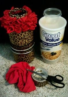 Headband holder with a bobbypin cup [oatmeal container, plastic cup, red t-shirt and leopard duct tape]