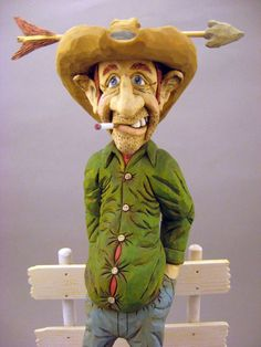Hand Carved Wood Cowboy Caricature Time for a by CarvingsbyTony