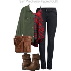 Supernatural - Sam Winchester Inspired Outfit by staystronng on Polyvore featuring Forever 21, ONLY, Bare Traps, Mix No. 6, Boots, plaid, jeans, samwinchester and spn