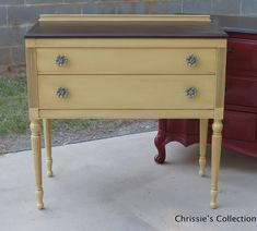 Server by Chrissie's Collection in General Finishes Buttermilk Yellow with Van Dyke Brown glaze, Java gel stained top