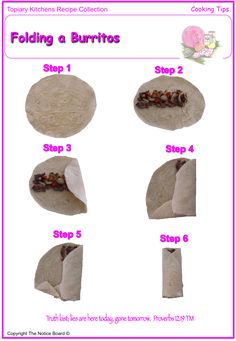 Get Beef and Bean Burritos Recipe from Food Network Fold A Burrito, How To Wrap Burrito, Cooking Tips, Cooking Recipes, Healthy Recipes, Mexican Dishes, Mexican Food Recipes, Bean Burritos, Tortilla Wraps