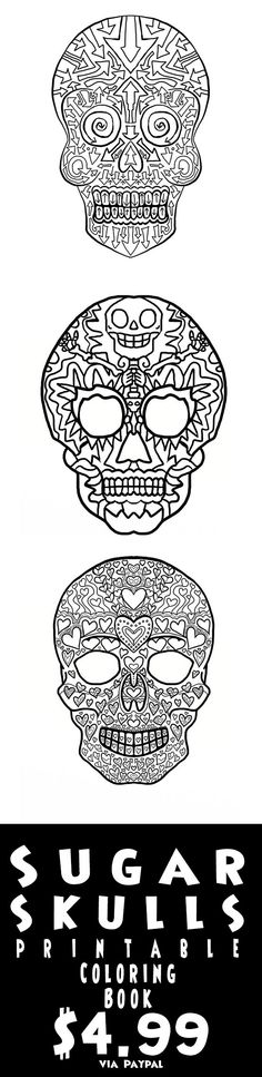 Print your own Complciated Coloring Sugar Skull Coloring pages - print halloween decorations