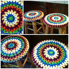 Granny Mandala stool covers from beatriceryandesigns from a free pattern by Crochet w/Raymond.