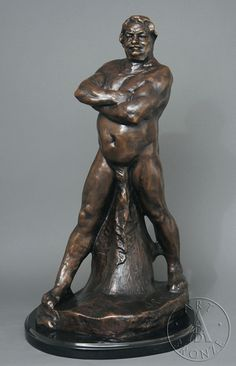 Honoré de Balzac, nude and looking rather pleased with himself, Paris. Sculpture by Auguste Rodin, 1892.