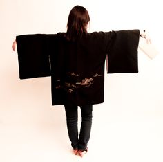 Black Haori with gold Japanese landscape embroidery and 1950s vintage clutch