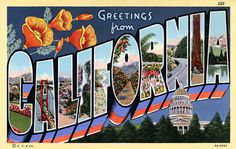 Greetings from California- 1930/1940 Vintage postcard