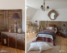 Miroir œil de bœuf en bois 'Athezza', paravent en bois 'AM.PM.' faisant office de tête de lit, tapis en jonc de mer 'Ikea', parure de lit 'Autrefois', gros coussins de sol en chanvre écru 'Baucis & Philémon'
