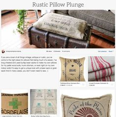 Rustic Pillow Plunge! An inspiring collection of bean and grain sacks, plus ready made pillows! Curated by Funky Junk Interiors for Ebay.