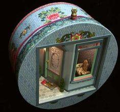 Hatbox scene by Susan O. of Pacificica, CA. miniatures.com: