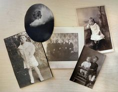 Mixed Lot of 5 Antique Photographs Cabinet by VintageToAntiquity