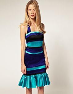 Enlarge Karen Millen Colour Block Halter Neck Dress