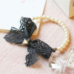Empowerment of Lace Bow bracelet Bow Bracelet, Lace Bows, Kpop Fashion, Stretch Bracelets, Drop Earrings, Jewelry, Style, Swag, Jewlery