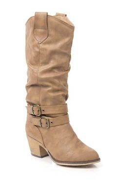 Deb Shops tall slouch western boot with buckles and straps $30.37