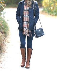 Black coat + plaid scarf + skinnies + riding boots. #Jcrew