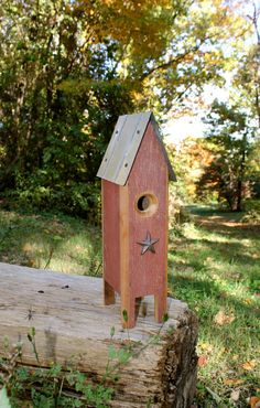 Rustic Barn Wood Birdhouse with Star by BlackbirdStew on Etsy