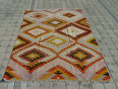 VINTAGE Turkish Kilim Rug Carpet Handwoven by TurkishCraftsArts, $699.00