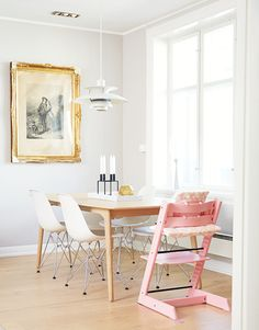 """STOKKE STORIES: """"When we found out we were expecting a girl, we thought is was nice to have one in a pink colour [TRIPP TRAPP CHAIR] as well, because the rest of our interior is quite simple. It was cool to have a colour that popped. It is a fascinating thing with design classics, it is just as modern today as it was when we had it when we were children."""""""