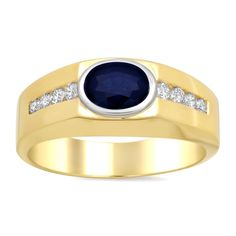 Chantal 14k Two-tone Gold 2/5ct TDW Diamond and Sapphire Ring (E-F, SI1-SI2) (Size 12), Women's, Blue
