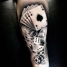 Money tattoos are all about making money. Speaking of the best money tattoo designs, nothing beats your cool moneybags, dollar signs, monopolists, cash stacks or Benjamin Franklin tattoos to get your attention and focus on your goals. Music Tattoos, Leg Tattoos, Sleeve Tattoos, Tatoos, Trendy Tattoos, Tattoos For Guys, Cool Tattoos, Badass Tattoos, Card Tattoo Designs