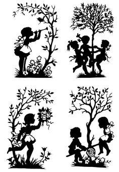 Handmade Paper Cut Silhouettes Paper cutting 4pcs Childhood: