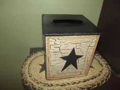 Primitive Crackle Metal Tissue Box Holder ~ Black Stars  Country Decor #NaivePrimitive