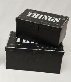"""Metalldose Blechdose schwarz 2er Set Schriftzug """"Things"""" auf alt getrimmt Wohnen Aufbewahren Dosen und Boxen"""