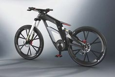 """Audi Electric Bike. If you've ever ridden an electric bicycle, you'll agree with me that it's a thrill. Now Audi is set to debut its prototype Wörthersee e-bike, said to be """"a high-performance e-bike for sports and trick cycling."""" The 24 lb bike's lithium-ion battery charges in 2.5 hours, and this two-wheeler can zip you along at near-motorcycle speeds -- 50 mph -- with a range of between 31 and 44 miles."""