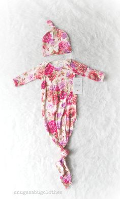 Vintage Floral Tie Baby Girl Gown with by SnugAsaBugClothes, $48.00