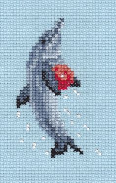 Dolphin With Ball counted cross stitch chart Designed by Elizabeth Lisa Overduin Cross Stitch Borders, Cross Stitch Animals, Cross Stitch Designs, Cross Stitching, Cross Stitch Embroidery, Embroidery Patterns, Cross Stitch Patterns, Henna Designs Drawing, Pixel Crochet