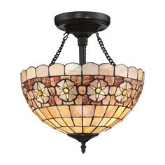 Quoizel Sea Shell Sanibel 14-in W Vintage Bronze Stained Tiffany-Style Semi-Flush Mount Light