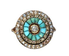 Late 1800s Rose Cut Diamond and Turquoise Cluster Ring, 18K via Anne N. Victorian Era