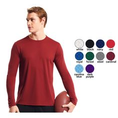 Long sleeve crew neck. Inherent moisture wicking to keep you dry and comfortable. 100% microfiber oxymesh. Treated with BodyFreshe to inhibit the growth of odor causing bacteria. No shrinkage, easy care. Breathable. Sizes 2XS-4XL. Great for basics, fitness, running and P.E. X-Small- 4XL, Domestic and import available.