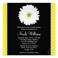 White Gerbera Daisy Yellow Polka Dot Bridal Shower Custom Invitations