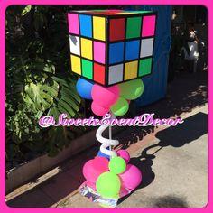 80's Theme | NEON Theme | Event Decor | Rubiks Cube | Balloon Decorations | Balloon Column