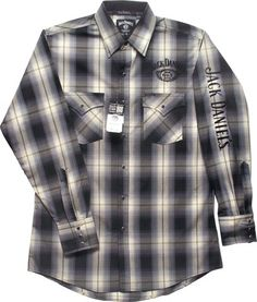 Jack Daniels Old No 7 Brand Western Snap Black and Gray Plaid Shirt Jack Daniels Logo, West Bend, Black And Grey, Gray, Western Wear, Wisconsin, Cuffs, Cool Things To Buy, Men Casual