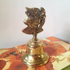 Brass Ram Sheep Head Bell Teachers Hand Bell by GingerNIrie