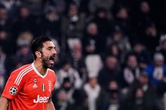 Juventus' goalkeeper from Italy Gianluigi Buffon reacts during the UEFA Champions League Group D football match Juventus Barcelona on November 22, 2017 at the Juventus stadium in Turin.  / AFP PHOTO / Federico TARDITO