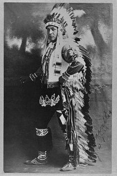 Potawatomi man - 1909, but no name or location, and wearing a Plains headdress