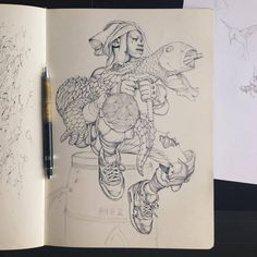 "James Jean's Sketchbook, posted on Facebook.  ""The original drawing in my sketchbook from which Mizu was made."""