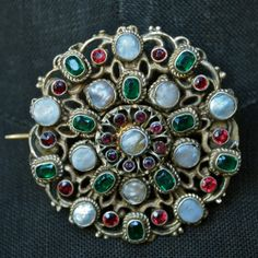 Austro-Hungarian Gemstone and Mabe Pearl Round Brooch, Red, Green, Ivory, Garnet Gold Vermeil $350