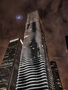 Chicago Aqua Building..waved balconies prevent updrafts on windy days from causing a vacuum on the opposite side of the building and making it sway.