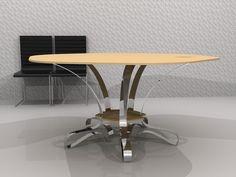 Julio 2013 Mesa YOGHURT color Vainilla.  Pie de acero inoxidable pulido y tablero de Krion. Diseño de Ernesto Oñate.