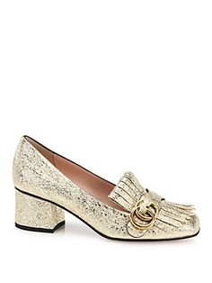 Gucci Marmont GG Crinkle Metallic Leather Block-Heel Loafers