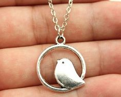 Bird Pendant Necklace, Antique Bronze, Antique Silver, best friends gift by CharmSpinky on Etsy