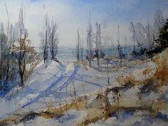 """Winter Dune""  15x22 transparent watercolor,   Sandra L. Strohschein.  Original Available.  sandystrohs@gmail.com"