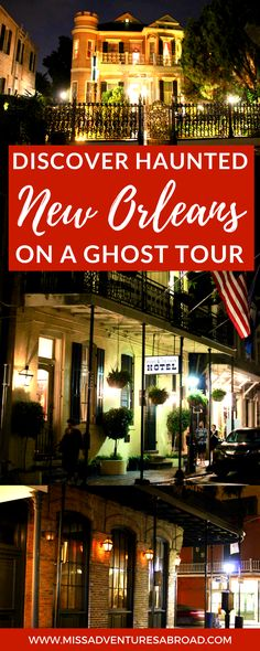 Discovering Haunted New Orleans On A Ghost Tour · New Orleans, Louisiana is filled with tons of haunted history and creepy stories! While visiting the city, you won't want to miss out on a spooky ghost tour to learn about the city's most haunted sites! Tours New Orleans, New Orleans Vacation, New Orleans Travel, New Orleans Louisiana, New Orleans Voodoo, New Orleans History, Louisiana Usa, Haunted Tours, Most Haunted