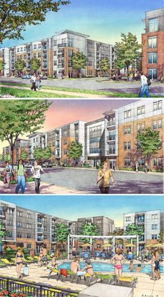CSO Architects, Indianapolis.  Student Housing for Purdue University.  Renderings by Bondy Studio.