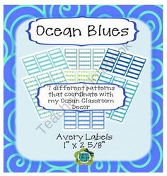 """Ocean Colors EDITABLE Avery 1"""" x 2 5/8"""" Labels (7 sheets of patterns) from First Class Teacher Resources on TeachersNotebook.com -  (9 pages)  - Here are Avery compatible 1"""" x 2 5/8"""" labels for labeling books or files or other labeling jobs you have in cool ocean colors. These labels coordinate with all of my Ocean Classroom Decor."""