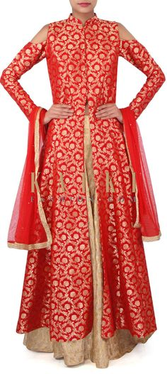Red long jacket matched with brocade lehenga only on Kalki